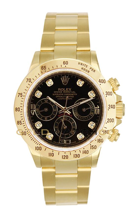 "#Rolex 40mm 18K Yellow Gold Daytona, Black Diamond Dial ""Inner Bezel Engraving."":"
