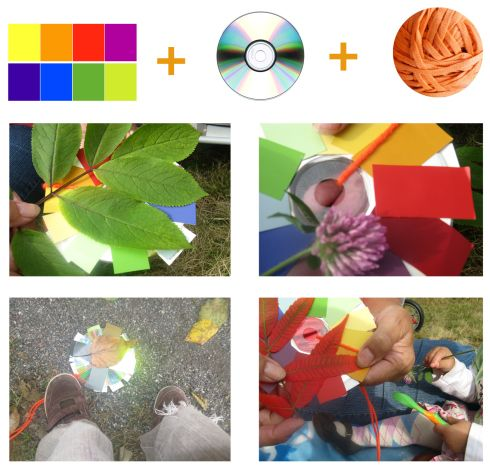 Art scavenger hunt with a color wheel and camera