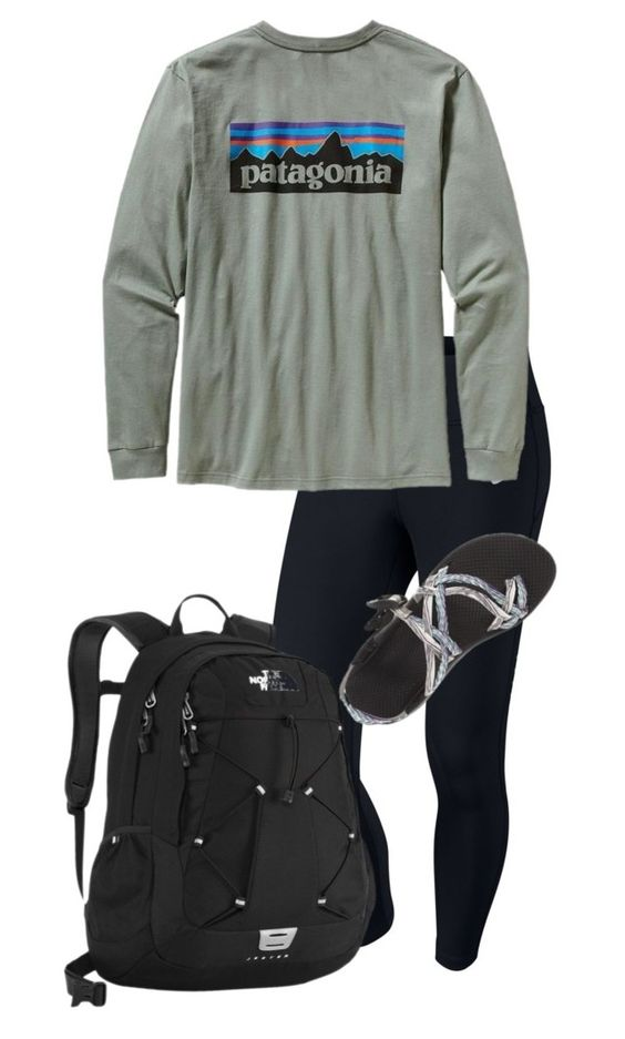 """""""Lazy day"""" by preppy123 ❤ liked on Polyvore featuring mode, NIKE, Patagonia, Chaco en The North Face"""