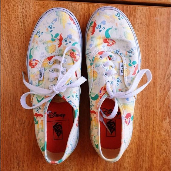 Vans Disney The Little Mermaid Shoes Gently used (3 times) Vans off the wall Authentic Disney Shoes. They are a 4 in kids size, but measure around a six in womens Vans Shoes Sneakers