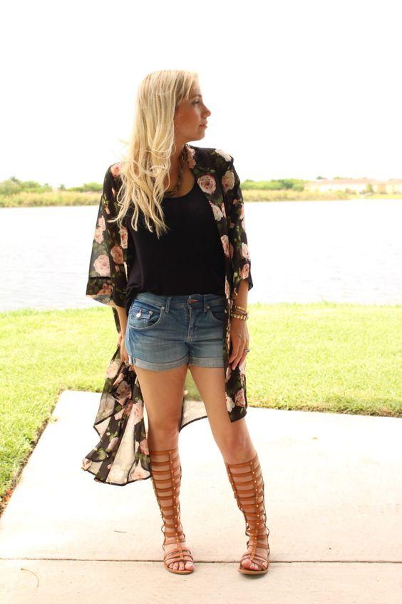 {kimonos and knitted cardis} Forever21 kimono, h&m jean shorts, zigi girl gladiator sandals,  summer look 2014
