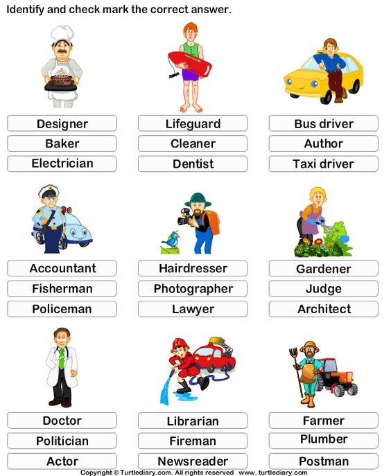 Kindergarten Vocabulary Worksheet: Identify the job ...