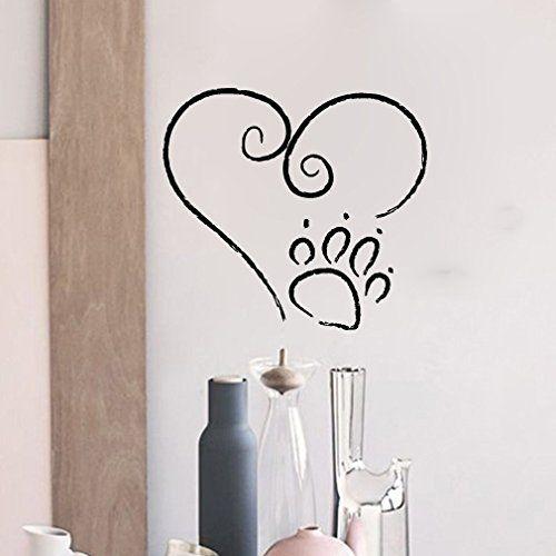 Dog Paw Print Graffiti Heart Vinyl Wall Words Decal Sticker Graphic