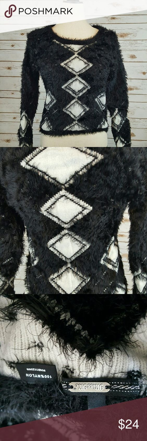 "Miss Me ""furry"" black and white diamond sweater sm Miss Me black and white furry nylon sweater. Has white diamond shaped design. Excellent preowned condition. Will accept reasonable offers :) Miss Me Sweaters"