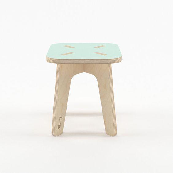 Mint wood stool modern scandinavian wooden step by PiecesDesigns