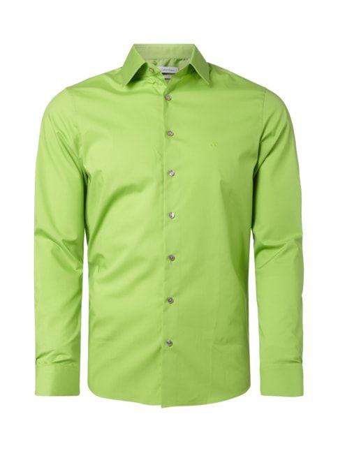 Slim Fit Business-Hemd mit Kentkragen Grün - 1