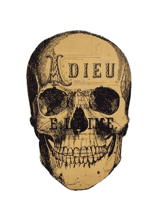 "Saatchi Online Artist: tyrone dalby; Paper, 2012, Assemblage / Collage ""ADIEU""  Skull"