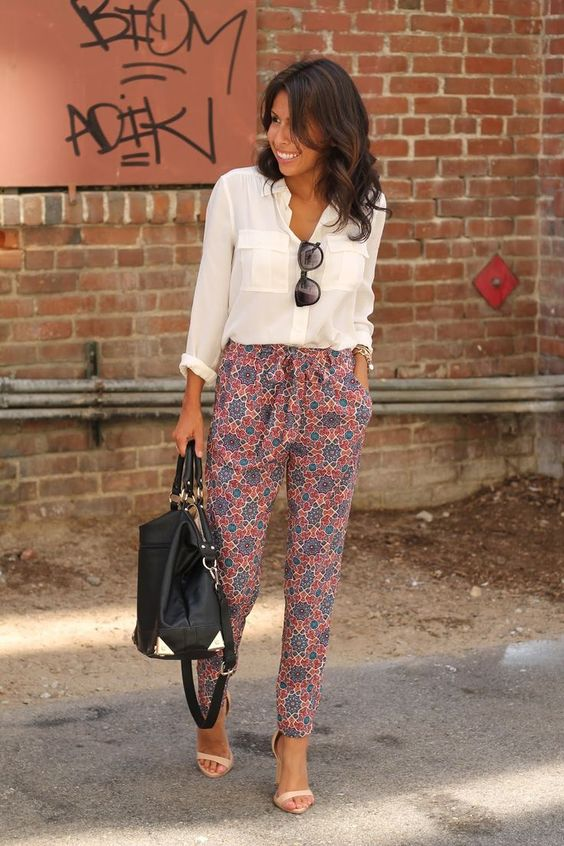 Example of trendy pants. Soft pants can be taped leg like these or wide leg. Printed or solid color.
