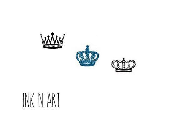InknArt Temporary Tattoo - 3pcs Crown set script love temporary tattoo wrist neck ankle wedding fake faux tattoo