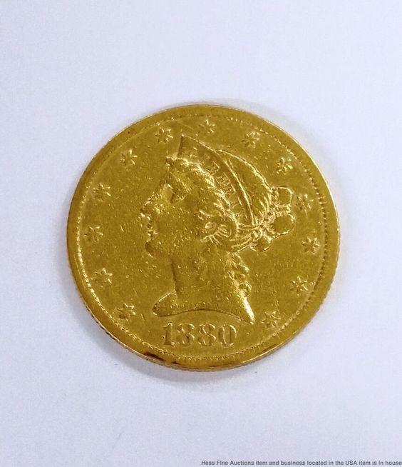 1880 5 Liberty Head Half Eagle Five Dollar Us Gold Coin Gold Coins Coins Antique Coins