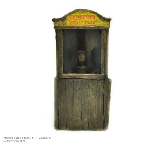 """Every museum, archaeologist, or sideshow man needs a display piece for their collection! This 1/12"""" scale #dollhouse #miniature is of a Shrunken Head!  Shrunken heads have been used for rituals, trophies, and trade. Oh, and the American #sideshow"""