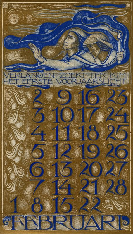 Art Calendar Miami : Dutch art nouveau calendar february via wolfsonian