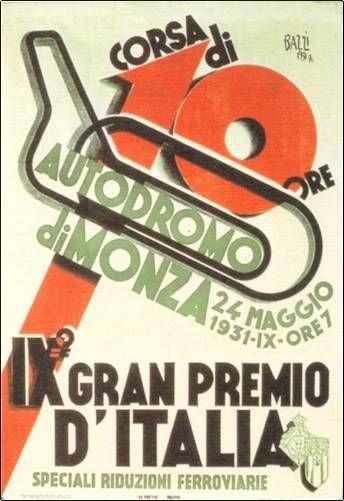 1931 Italian Grand Prix - Autodromo di Monza - Official Poster