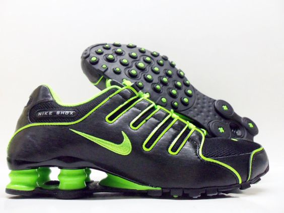green and black nike shox