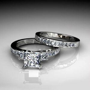 2.03Ct PRINCESS CUT THREE STONE Engagement Ring Wedding Band Bridal Set 14K Gold. $1,142.10 w/free shipping!