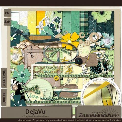 DejaVu full kit freebie from Sunshine Artz #digiscrap #scrapbooking #digifree #scrap #freebie #scrapbook
