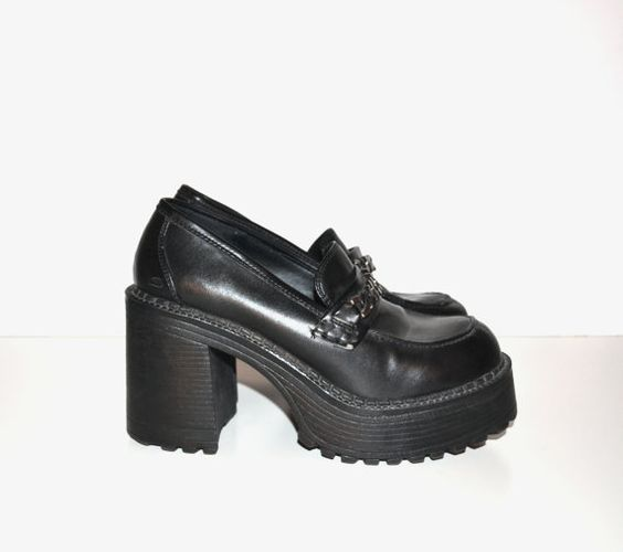 Vintage 90s Chunky Heel Shoes Black Shoes Skechers Shoes Rave Club