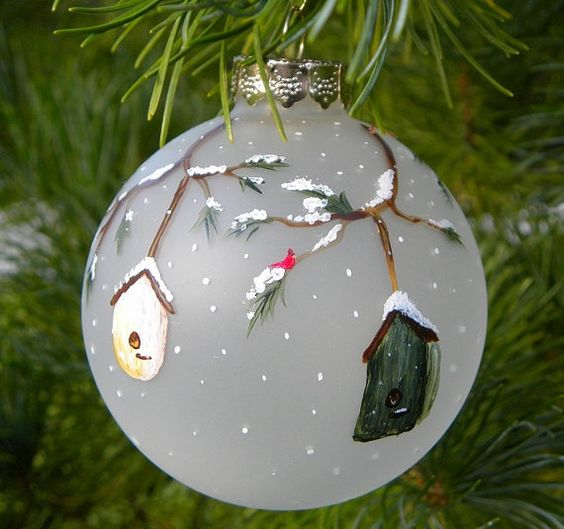 holiday tree ornament, frosted glass with hand painted bird houses and cardinal. Whimsical and country decor would best describe the style. This listing is for one ornament. I included a photo of multiples for customers who would be interest in purchasing a set. I welcome you to convo me to discuss additional quantities if desired. :) It measures 2 5/8. I use non-toxic permanent enamel paints. For international customers, convo me and i will quote a shipping price for you.: