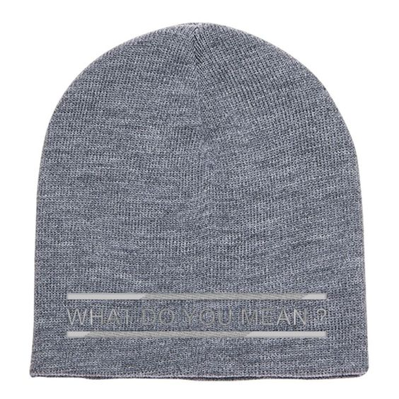 What Do You Mean   Embroidered Knit Beanie  da1ca72d23d