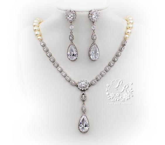 Wedding Necklace Earrings Swarovski Pearl by PureRainDesigns, $128.00