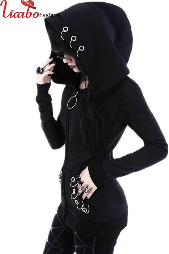 Women Witch Punk Gothic Moon Print Hoodie Slim FASHION Sweatshirt Tracksuit UK