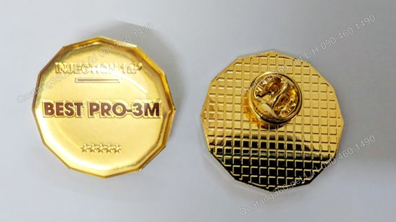 Huy hiệu đồng mạ vàng 24k nền trơn