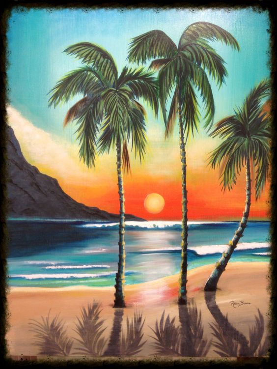 Palm tree shadows hawaiian tropical art artwork by for Painting palm trees