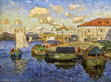Konstantin Gorbatov, Barges in Novgorod on ArtStack #konstantin-gorbatov #art