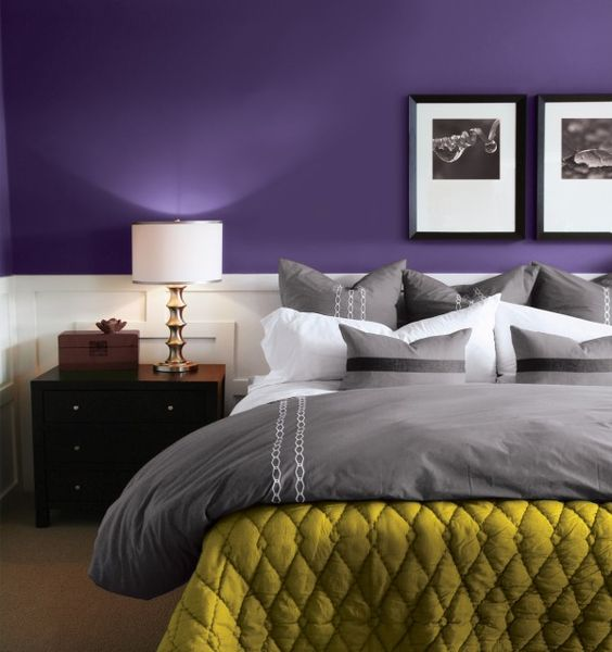 purple & grey & pop of yellow: