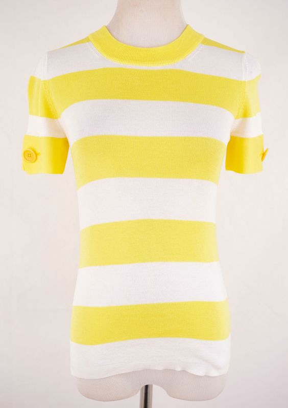 Banana Republic Striped Yellow Shirt Size S
