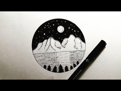 تعليم الرسم رسم منظر طبيعي ليلي سهل جدا باللون الأسود فقط خطوة بخطوة How To Draw