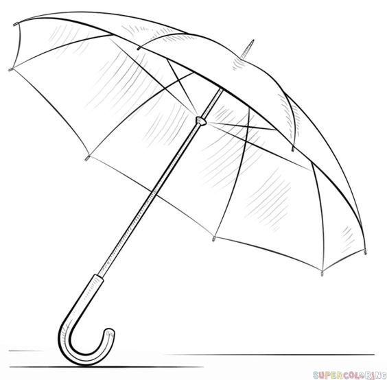 how to draw umbrella for kid