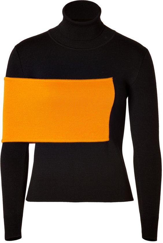 J.W.Anderson Wool Blend Turtleneck in Black/Orange on shopstyle.com