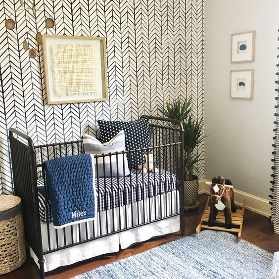 Baby boy nursery Blue and white Serena and lily wallpaper