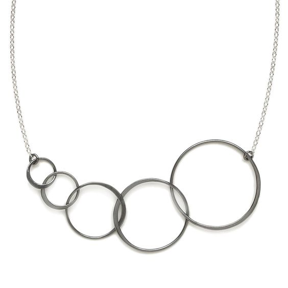 Chandra Necklace - Oxidized Sterling Silver Linked Circles #necklace #oxidized #jewelry #handmadeboutique #gifts #women www.lilaclare.com