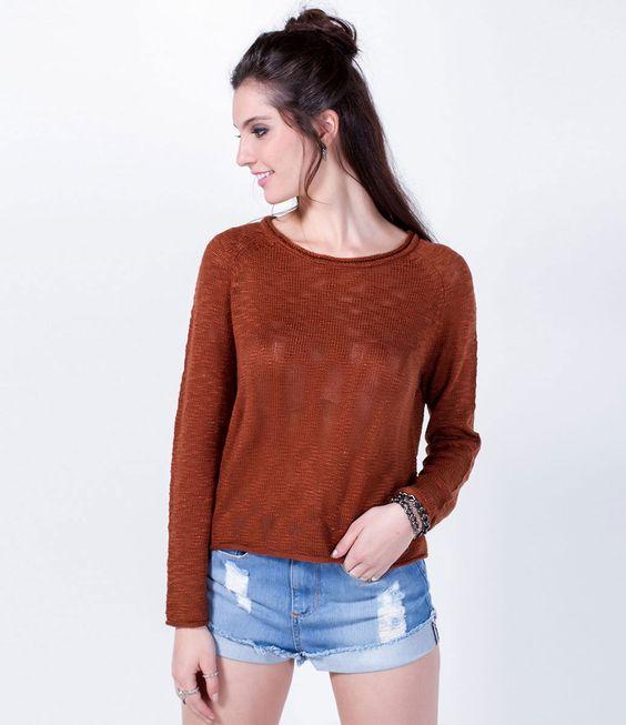 Blusão Cropped em Retilínea - Lojas Renner