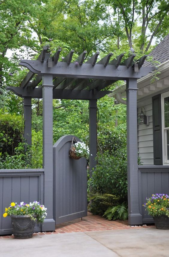 Garden Gate. Garden gate with pergola. #GardenGate #Gate # ... on Gate Color Ideas  id=28120