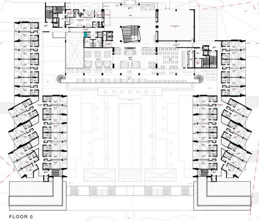 Gallery Of Yellow Hotel Plan Associated Architects 14 Hotel Plan Hotel Floor Plan Hotel Project Architecture
