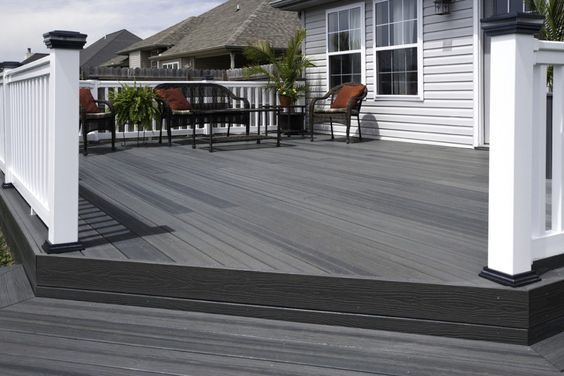 Grey decks and google on pinterest for Cheap composite decking