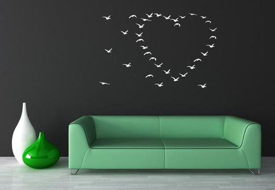 Heart of Flying Birds Decal from  VINYL WALL ADORNMENTS on Etsy