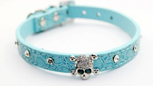 Namsan Adjustable Blue Puppy Dog Pet Doggie Cats Leather Collars Necklaces With Crystal Skull Extra Small - http://www.thepuppy.org/namsan-adjustable-blue-puppy-dog-pet-doggie-cats-leather-collars-necklaces-with-crystal-skull-extra-small/
