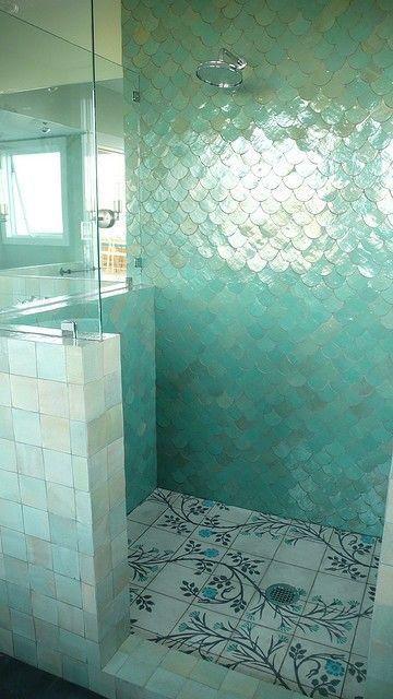 Beautiful decor and fishscales tiling! <3  #decor #home #house #bathroom #aqua #blue #sea