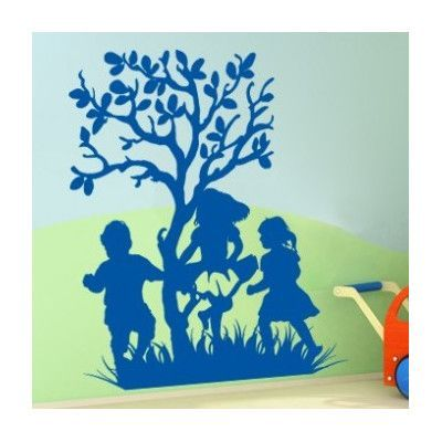 "Style and Apply Laughing Kids Wall Decal Size: 54"" H x 46"" W, Color: Royal Blue"