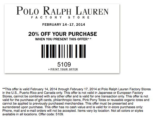 Ralph Lauren Polo Outlet 20% Off Coupon Code   Coupon Codes   Pinterest    Coupon codes