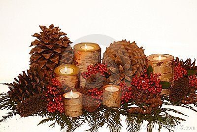 Holiday birch bark candlescape