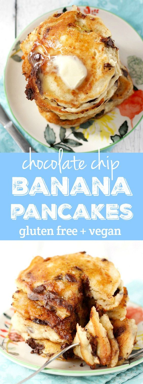 Delicious gluten free and vegan chocolate chip pancakes. An easy and ...