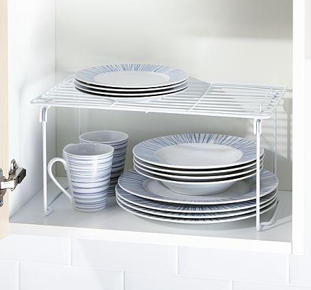 Kitchen Cupboard Shelf Organiser Dish Plate Rack Stand Foldable ...