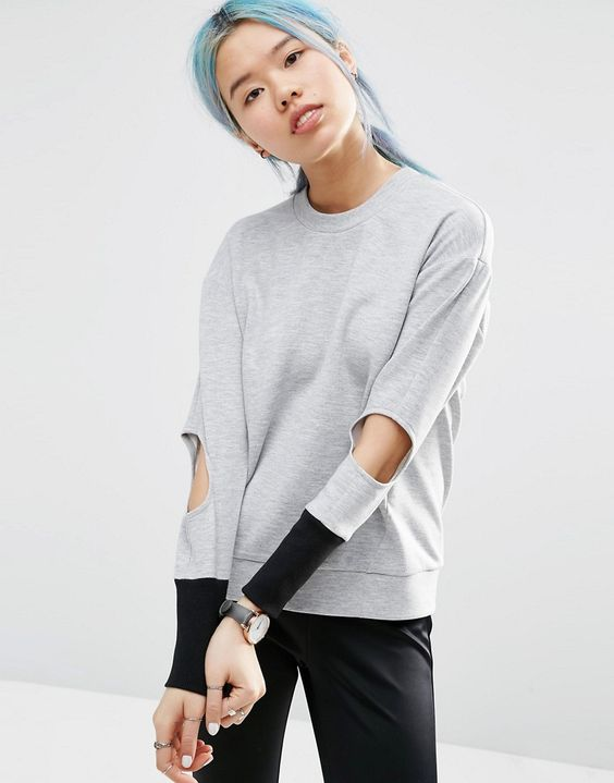 Image 1 ofASOS WHITE Sweater with Elbow Cut Out Detail