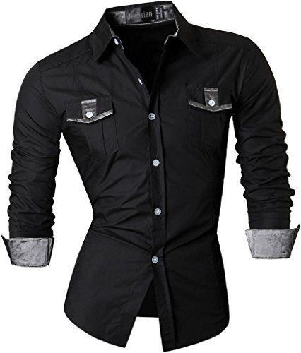 jeansian Herren Freizeit Hemden Shirt Tops Mode Langarmshirts Slim Fit Z022 Black L [Apparel] Jeansian http://www.amazon.de/dp/B018NBU9Z8/ref=cm_sw_r_pi_dp_g96Cwb003HGZY