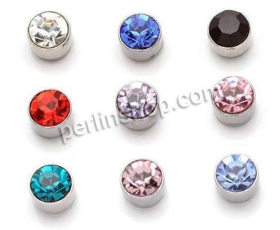 Zinklegierung Magnetische Ohrstecker, flache Runde, silberfarben plattiert, mit Strass, gemischte Farben, frei von Nickel, Blei & Kadmium, 5mm, 50Paar/Pack, verkauft von Pack - perlinshop.com